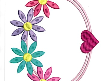 Embroidery Design, Flower Oval Frame Embroidery, Flowers
