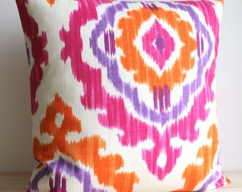 Orange and Pink Ikat Pillow Cover, 14x14, 16x16, Ikat Cushion Cover - Ikat Tribal Tangerine