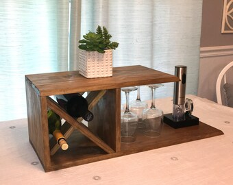 wine rack table. Rustic Farmhouse Table Top Wine Rack