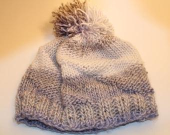 Purple and Gray Crochet Hat