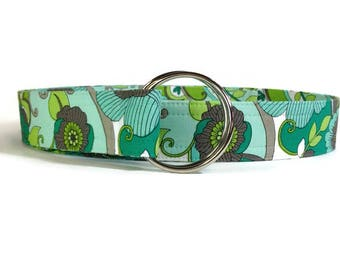 Women's Green Mod Floral Fabric Belt