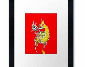 Yellow bird, original art print, recycled paper, black wooden frame