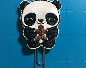 Panda with Gingerbread Cookie Planner Clip