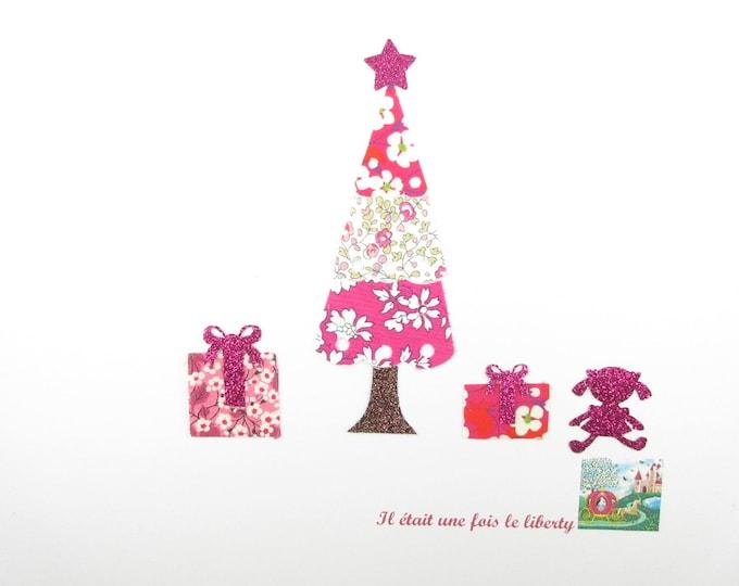 Applied fusing liberty fabric Christmas tree Eloise pink Capel Mitsi fuchsia hot pink glitter flex patch iron Christmas tree pattern