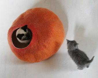 Cat Nap Cocoon Cave Bed House Vessel Sphere Furniture - Hand Felted Wool - Crisp Contemporary Design READY TO SHIP  Warm Orange Ombre Bubble