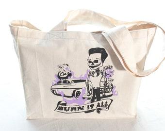Canvas Tote Bag, Shopping Bag, Market Bag, Reusable Bag, Eco Bag, Beach Bag, Screen Printed, Rockabilly Skeleton, Purple, Black