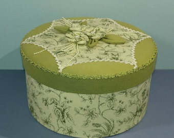 Decorative Floral Fabric Covered Box Ladies French Boudoir Keepsake Sage Green White Floral Print Padded Lined Sewing Notions Bedroom Decor