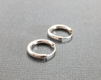 Tiny sterling silver hoops, Classic hoops, Everyday silver earrings, Dainty jewelry, Delicate hoop earrings, Minimalist hoop earrings