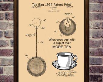 Tea Bag Art 1937 Patent Art Kitchen Tea Art Print Tea Quote Kitchen Decor Tea Lover Gift Tea Sign Tea Poster Kitchen Wall Art Quote Wall Art