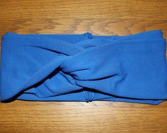 Ultra Wide Royal Blue Turban Headband