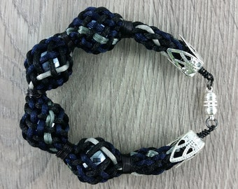 Bracelet: woven braided satin cord and four glass balls; black, grey, blue; gift for him, gift for her