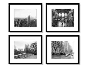 SALE, New York Print Set, Black and White Photography, Set of 4 Prints, Skyline, Central Park, Radio City, Grand Central, New York Wall Art
