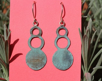 Rustic Teal Oasis-Blue Patinated Bubble Textured Dangles