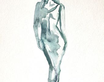 Original 8 x 10 inch watercolor painting of a woman