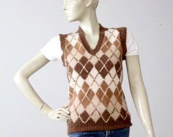 vintage Nordstroms alpaca sweater vest, argyle vest