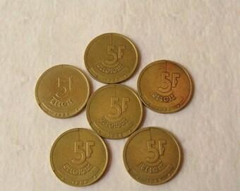 1980s 5 Frank Coins, Old Belgian Coins, Vintage Belgian Coins, Old Coin Necklace, Coins from Belgium, European Coins