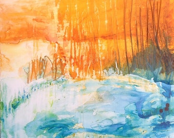 Last lights of summer - original painting, abstract landscape on stretched canvas