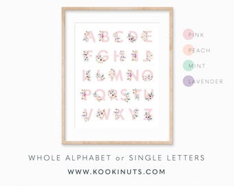 Boho Nursery Print Alphabet Print Printable Art Boho Baby Shower Pink Peach Mint Lavender Nursery Printables Wall Art for Girls Monogram