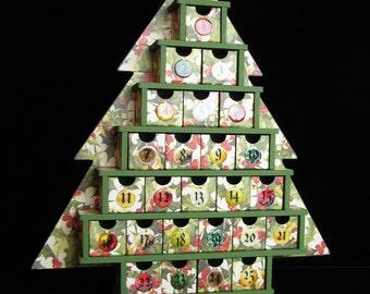 Christmas Tree Advent Calendar, Christmas Countdown Calendar, Wood Frame, 25 Treat Drawers, Keepsake Advent Countdown Calendar, Kaisercraft