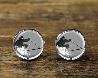 Ski cufflinks, Winter Sports cufflinks, Ski accessories