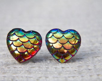 Red Stud Earrings, Dragon Scale Hearts,Mermaid Scale Hearts,Dragon Studs, Mermaid Studs, Stud Earrings, Dragon Jewellery, Mermaid Jewellery