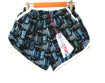 Blue Abstract Print Pocket Sports Shorts
