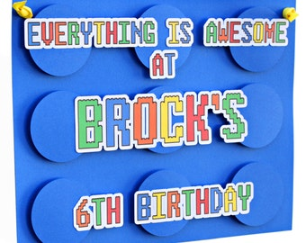 Everything is Awesome door sign, brick party door sign, building brick party decor, READY-MADE