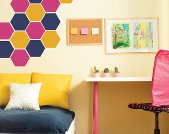 Hexagon Honeycomb Wall Decals, Hexagon Vinyl Decals, Honeycomb Wall Pattern, Bee Wall Decals, Childrens Wall Decals
