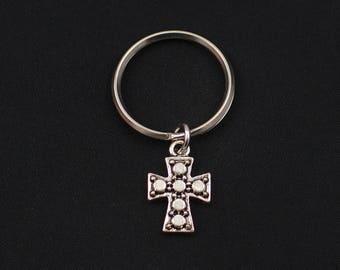 cross keychain, sterling silver filled, catholic keychain, dainty silver cross, first communion gift, boys keyring, confirmation, keepsake