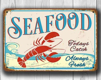 SEAFOOD RESTAURANT SIGN, Seafood Sign, Restaurant Sign, Vintage style Seafood Sign, Seafood Boil Sign, Restaurant Decor, Seafood Decor, Sign