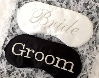BRIDE & GROOM sleep eye masks with adjustable elastic