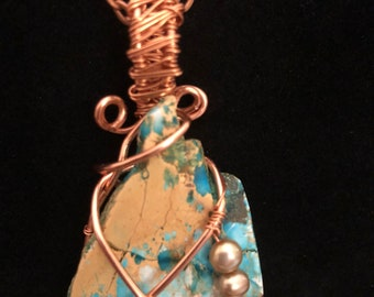 Wire wrapped stone and pearls