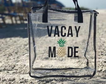 Customizable Beach Bag / Beach Tote / Clear Beach Tote / Vacay Mode / Good Vibes / Bridesmaids Gift