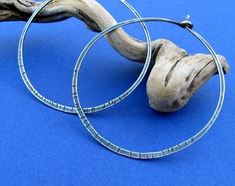 sterling silver hammered hoops, textured ginormous, big, 16ga, 2 inches diameter 2 in.
