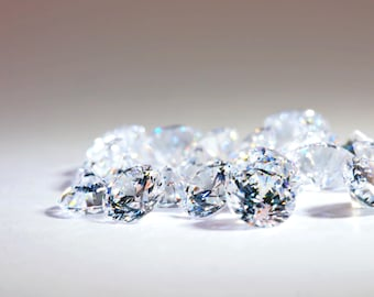 10pcs+ 4mm 5A Round Cubic Zirconia Loose Stones, Diamond Clear, Diamond Brilliant Cut, small lot size available.Ideal for DIY.