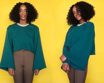 Decoy Fleece Lined Green Nude Cropped Bell Sleeve Sweatshirt XS S M L XL XXL