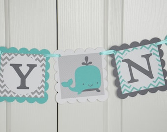Whale Baby Name Banner, Welcome Banner, Nautical Baby Shower, Whale Chevron, Sailboat  Banner, Teal and Gray Banner