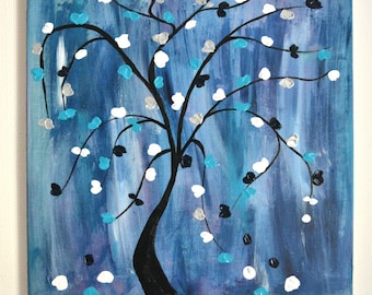 Blue abstract painting, contemporary art tree of life, modern, original abstract painting on canvas 55 x 46