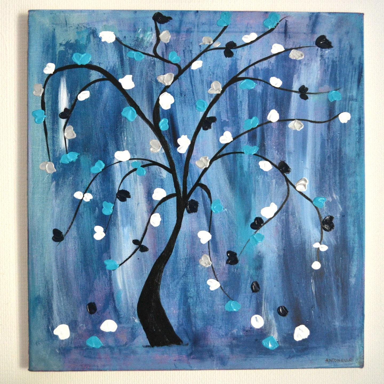 tableau moderne abstrait bleu art contemporain arbre de. Black Bedroom Furniture Sets. Home Design Ideas