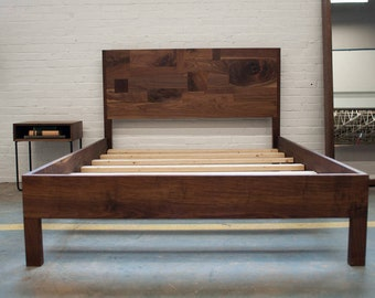 SALE - Solid Walnut Queen Bed with Frame and Headboard
