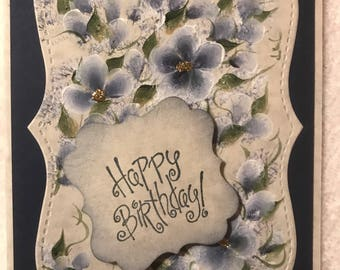 Handpainted Birthday Card. Free shipping.