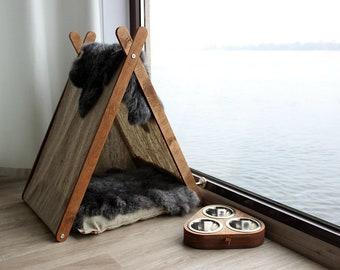 Cat furniture SET - For Cat Paw. Cat house, cat bowl, cat teepee, cat feeder, cat perch, cat dish, cat teepee bed, cat cave, pet teepee