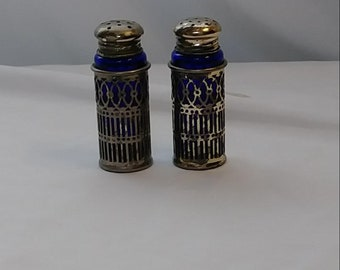 Vintage Blue Cobalt Glass with Silver Plated Pockets Salt & Pepper Shakers