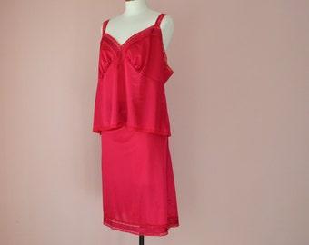 Cranberry Lace Camisole Half Slip Skirt Dress Set  Vintage Lingerie Modern Plus Size 2XL 3XL - VL318