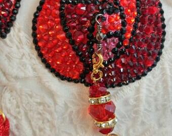 Rosita Roja red rose art nouveau art deco rhinestone burlesque pasties, nipple tassels tango