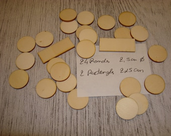 Set round and rectangle ba055 embellishment wooden creations