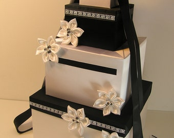Wedding Card Box White and Black Gift Card Box Money Box Holder--Customize your color