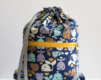 Whale Drawstring Backpack, Blue, Yellow, Gray, Brown Whale Bag, Gray Hearts and Polka Dot Bag, Cotton Fabric, Handmade