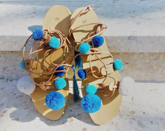 Pom Pom Sandals, Greek Sandals, Blue Pompom Sandals, Tie Up Sandals, Gladiator Sandals, Hippie, Boho, Lace Up Sandals, Sandals Pom Pom