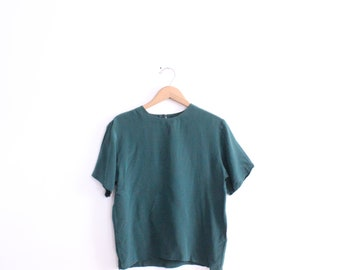 Minimal Forest Green 90s Silk Blouse